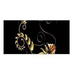 Butterfly Black Golden Satin Shawl