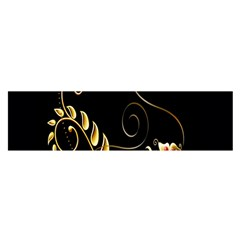 Butterfly Black Golden Satin Scarf (Oblong)