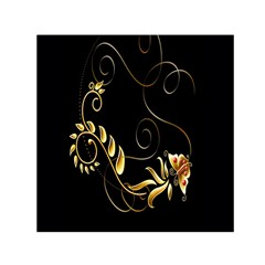 Butterfly Black Golden Small Satin Scarf (Square)