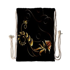 Butterfly Black Golden Drawstring Bag (Small)