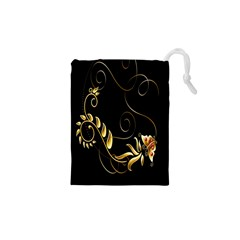 Butterfly Black Golden Drawstring Pouches (XS)