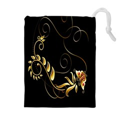 Butterfly Black Golden Drawstring Pouches (Extra Large)