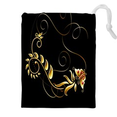 Butterfly Black Golden Drawstring Pouches (XXL)