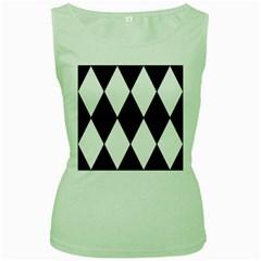 Chevron Black Copy Women s Green Tank Top
