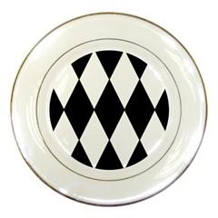Chevron Black Copy Porcelain Plates