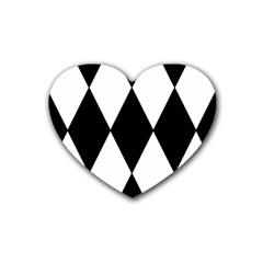 Chevron Black Copy Rubber Coaster (Heart)