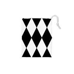 Chevron Black Copy Drawstring Pouches (XS)