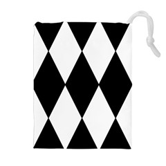 Chevron Black Copy Drawstring Pouches (Extra Large)