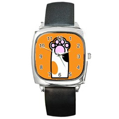 Cathand Orange Square Metal Watch