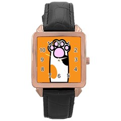 Cathand Orange Rose Gold Leather Watch