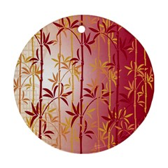 Bamboo Tree New Year Red Ornament (Round)