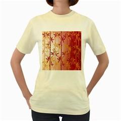 Bamboo Tree New Year Red Women s Yellow T-Shirt