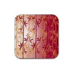 Bamboo Tree New Year Red Rubber Square Coaster (4 pack)