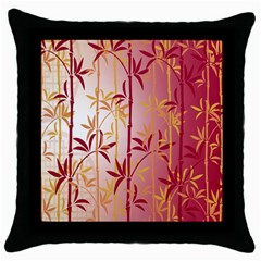 Bamboo Tree New Year Red Throw Pillow Case (Black)