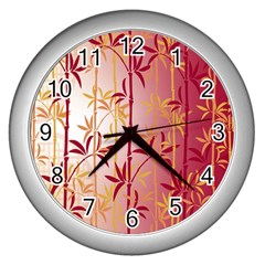 Bamboo Tree New Year Red Wall Clocks (Silver)