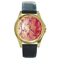 Bamboo Tree New Year Red Round Gold Metal Watch