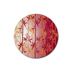 Bamboo Tree New Year Red Rubber Round Coaster (4 pack)