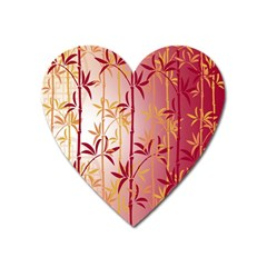 Bamboo Tree New Year Red Heart Magnet