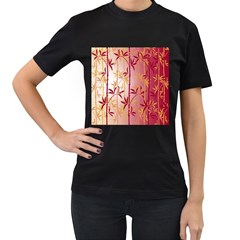 Bamboo Tree New Year Red Women s T-Shirt (Black) (Two Sided)