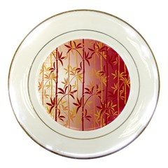 Bamboo Tree New Year Red Porcelain Plates