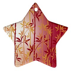 Bamboo Tree New Year Red Star Ornament (Two Sides)