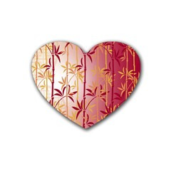 Bamboo Tree New Year Red Rubber Coaster (Heart)