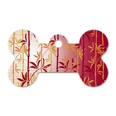 Bamboo Tree New Year Red Dog Tag Bone (Two Sides)