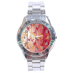 Bamboo Tree New Year Red Stainless Steel Analogue Watch