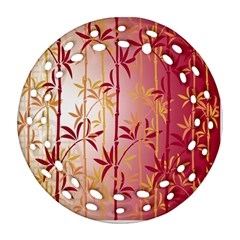 Bamboo Tree New Year Red Round Filigree Ornament (2Side)