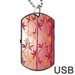 Bamboo Tree New Year Red Dog Tag USB Flash (One Side)