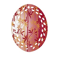 Bamboo Tree New Year Red Ornament (Oval Filigree)