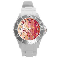 Bamboo Tree New Year Red Round Plastic Sport Watch (L)