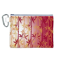 Bamboo Tree New Year Red Canvas Cosmetic Bag (L)