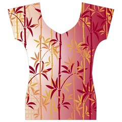 Bamboo Tree New Year Red Women s V-Neck Cap Sleeve Top