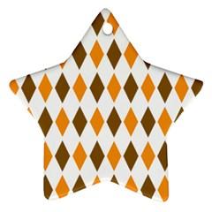Brown Orange Retro Diamond Copy Ornament (Star)