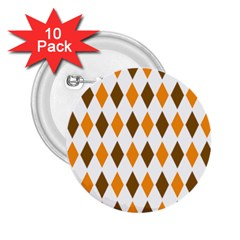 Brown Orange Retro Diamond Copy 2.25  Buttons (10 pack)