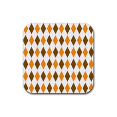 Brown Orange Retro Diamond Copy Rubber Square Coaster (4 pack)