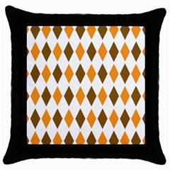Brown Orange Retro Diamond Copy Throw Pillow Case (Black)