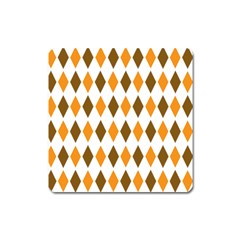 Brown Orange Retro Diamond Copy Square Magnet