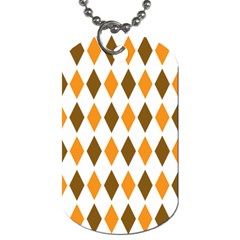 Brown Orange Retro Diamond Copy Dog Tag (Two Sides)