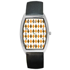 Brown Orange Retro Diamond Copy Barrel Style Metal Watch