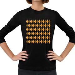 Brown Orange Retro Diamond Copy Women s Long Sleeve Dark T-Shirts