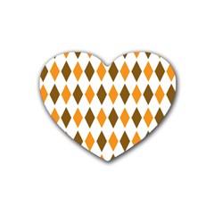 Brown Orange Retro Diamond Copy Rubber Coaster (Heart)