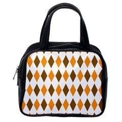 Brown Orange Retro Diamond Copy Classic Handbags (One Side)