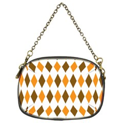 Brown Orange Retro Diamond Copy Chain Purses (Two Sides)