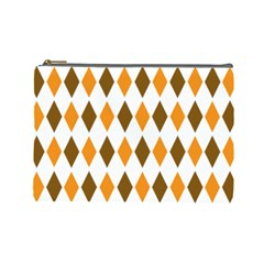 Brown Orange Retro Diamond Copy Cosmetic Bag (Large)