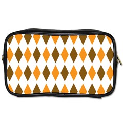 Brown Orange Retro Diamond Copy Toiletries Bags 2-Side