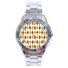 Brown Orange Retro Diamond Copy Stainless Steel Analogue Watch