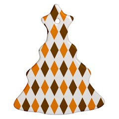 Brown Orange Retro Diamond Copy Ornament (Christmas Tree)