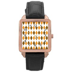 Brown Orange Retro Diamond Copy Rose Gold Leather Watch